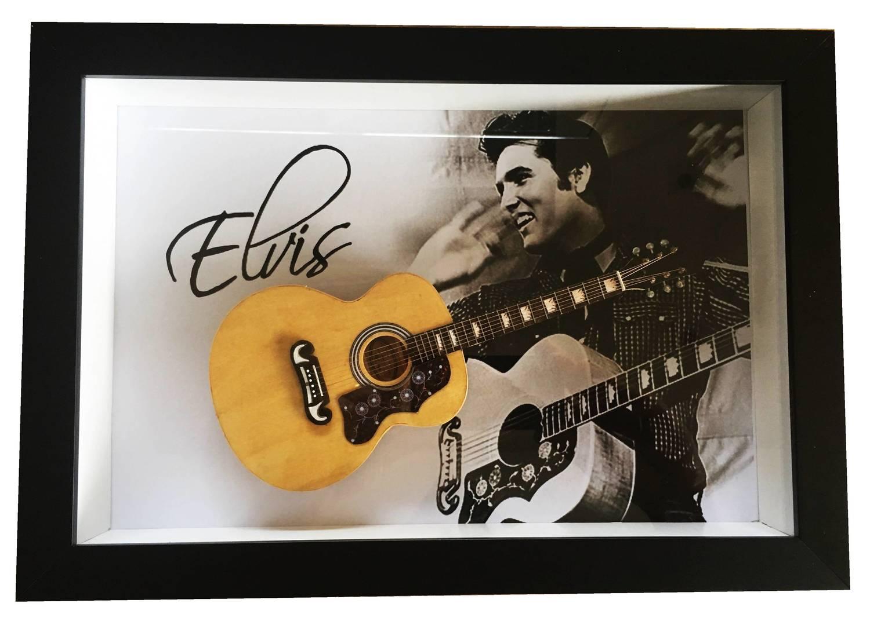 Miniatura Instrumento Musical Violão Elvis Presley com quadro