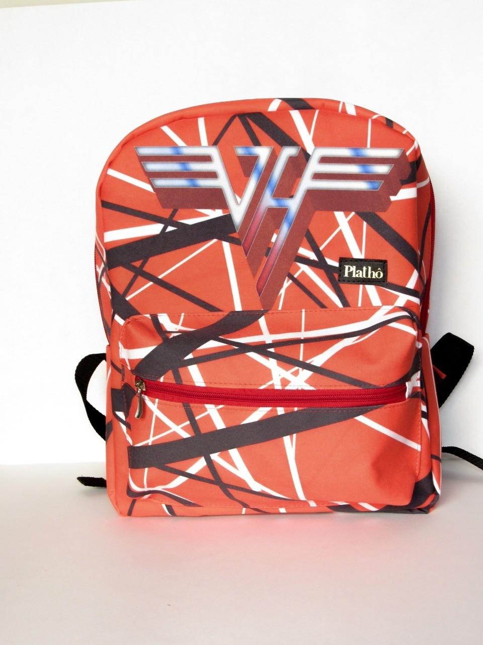 Mochila Ed Van Halen tecido poliester alças reguláveis bolsos interno e externo com zíper