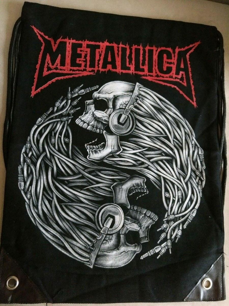 Mochila Banda Metallica Casual Caveira com Fone Importado