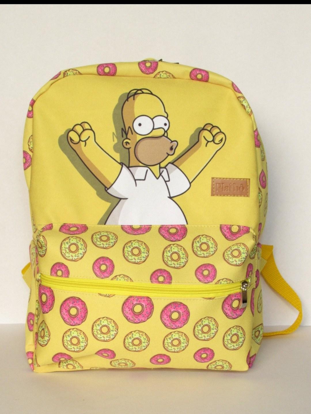 Mochila Homer Simpsons tecido poliester alças reguláveis bolsos interno e externo com zíper