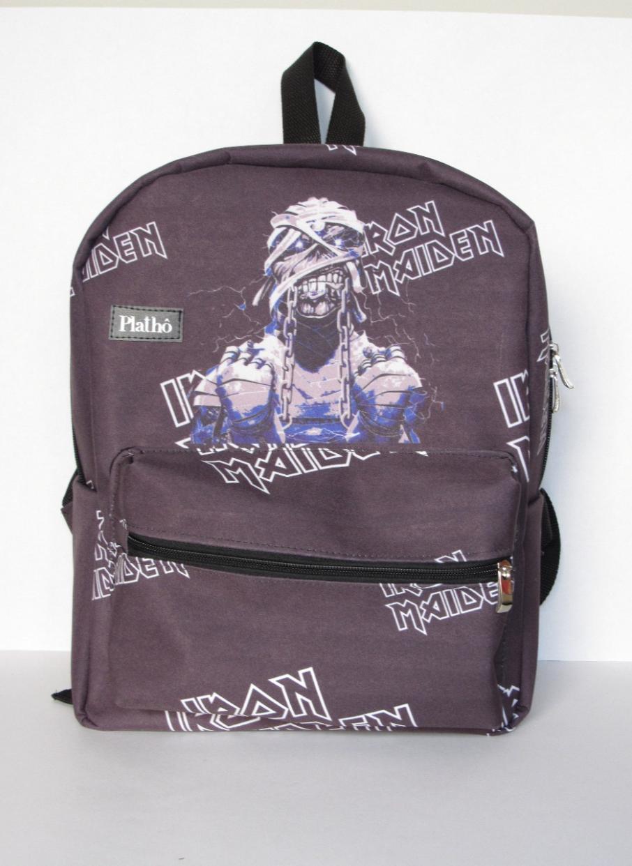 Mochila Iron Maiden tecido poliester alças reguláveis bolsos interno e externo com zíper