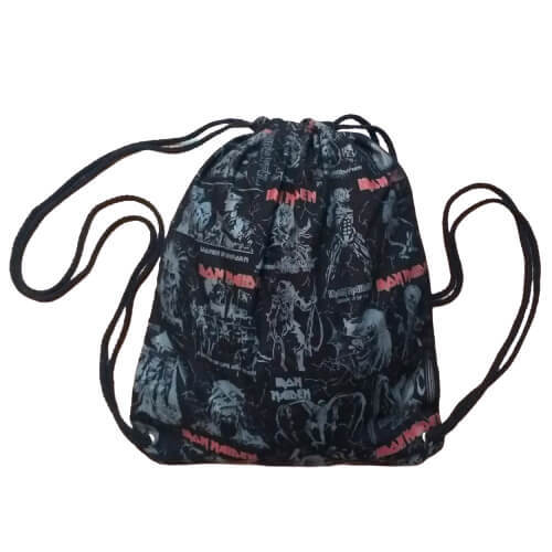 Mochila Saco Iron Maiden em tecido estampa silkscreen cordão nylon