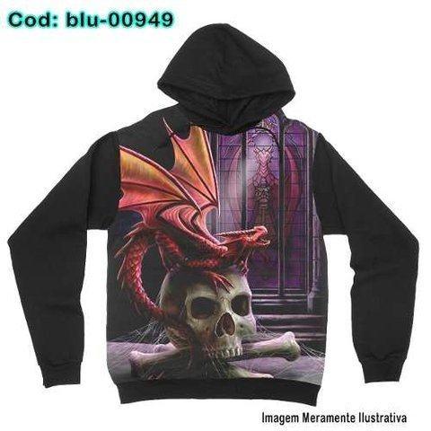 Moletom Infantil Dragão Skull Gótico com bolsos e capuz