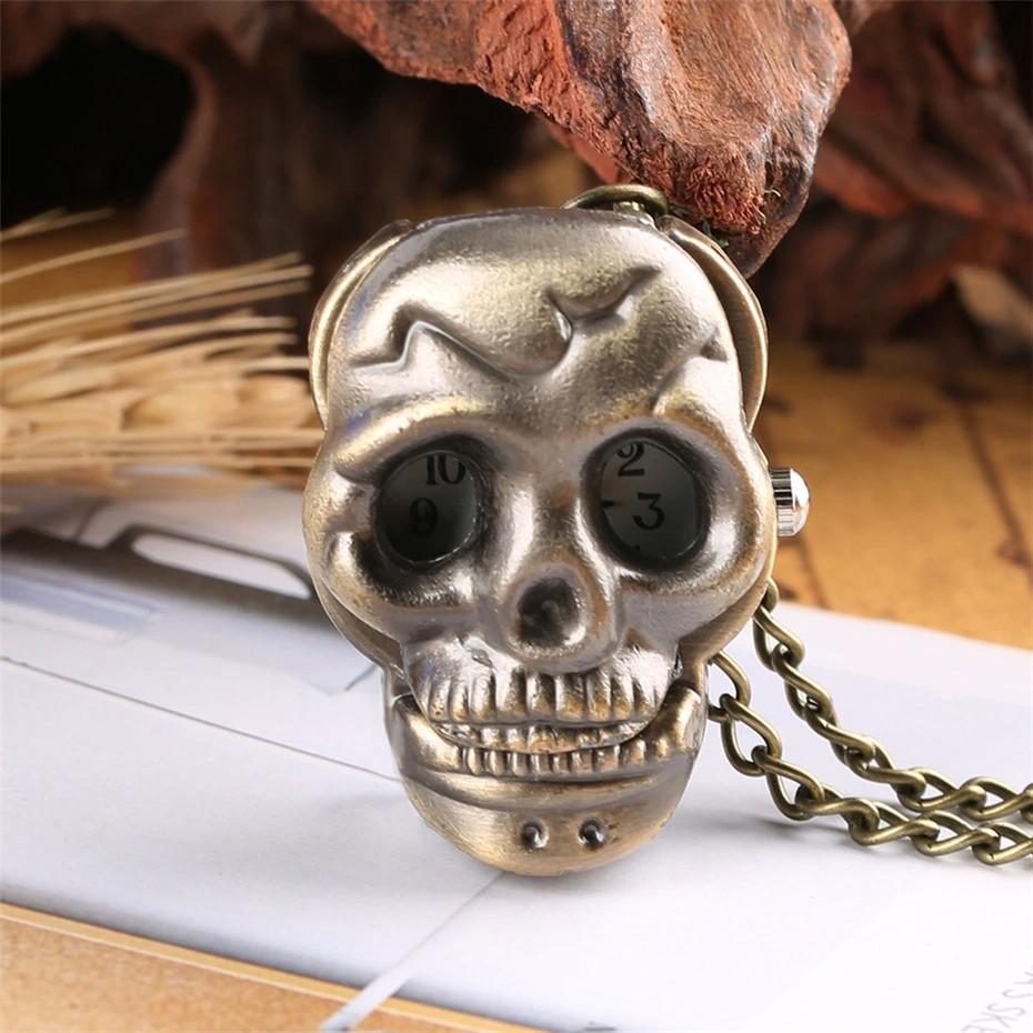 Relógio De Bolso Crânio Caveira Skull Punk Bronze