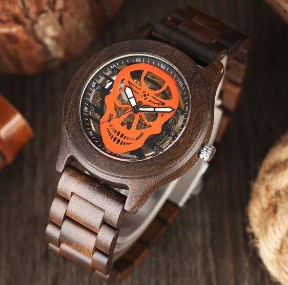 Relógio de Madeira Happy Skull - SkullAchando