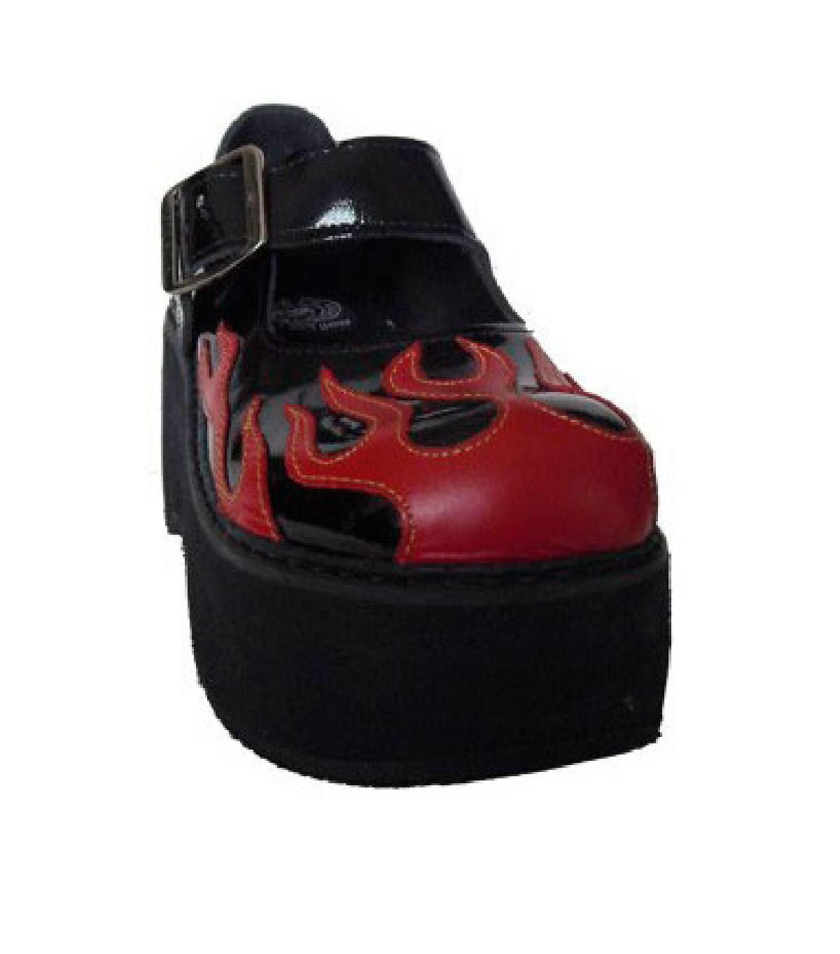 Sapato Boneca Envernizado Flame Chamas Plataforma Couro REF054