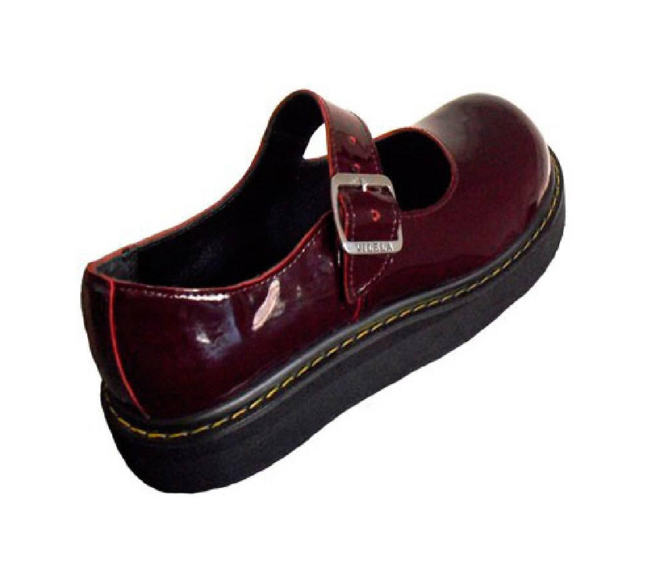 Sapato Boneca Envernizado Vinho Sola Baixa Couro 072