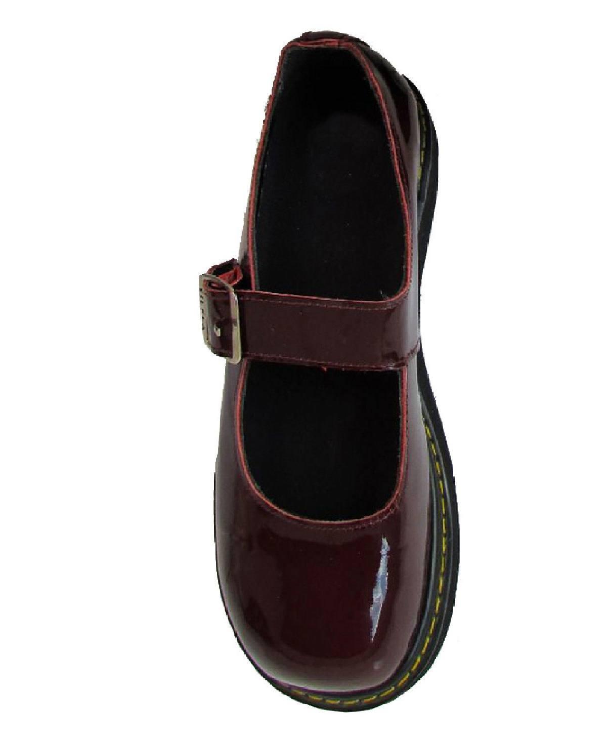 Sapato Boneca Envernizado Vinho Solado Plataforma Couro 095