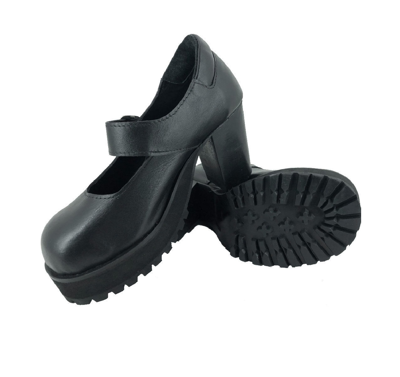 Sapato Boneca Salto Alto 1/2 Plataforma Liso Couro Ref176