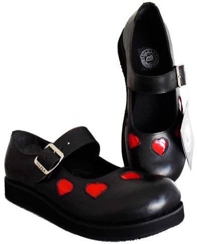 Sapato Boneca Solado Baixo Com Coração Couro Ref197