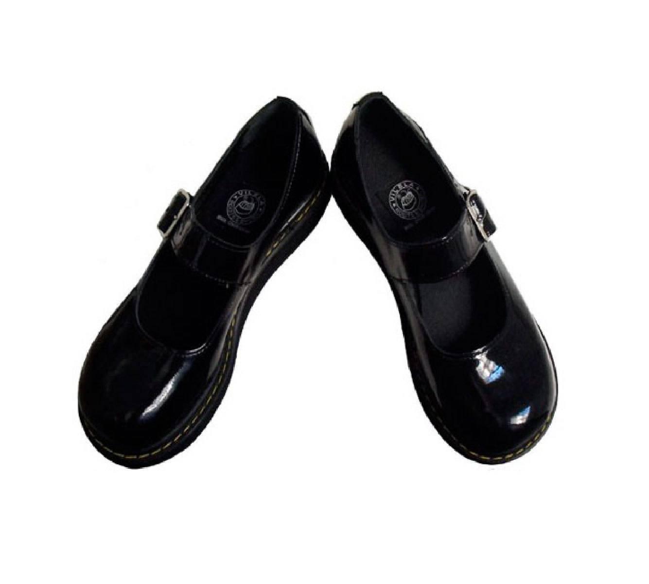 Sapato Boneca Verniz Preto Sola Baixa Couro Legitimo Ref145