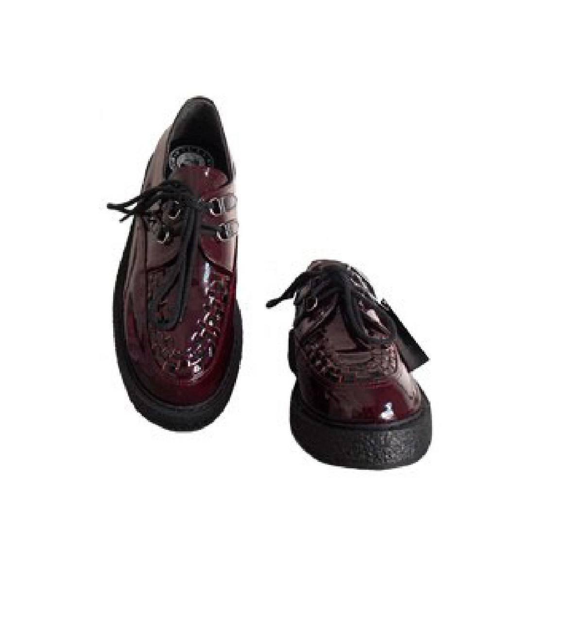 Sapato Creeper Vinho Envernizado Trança Couro Ref190