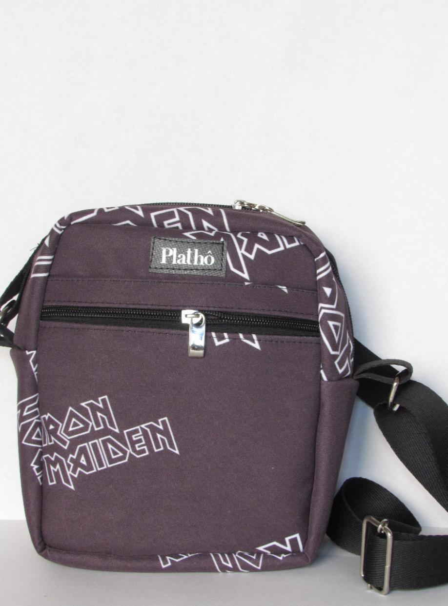 Shoulder bag Iron Maiden  tecido poliéster forro impermeável bolsos interno e externo
