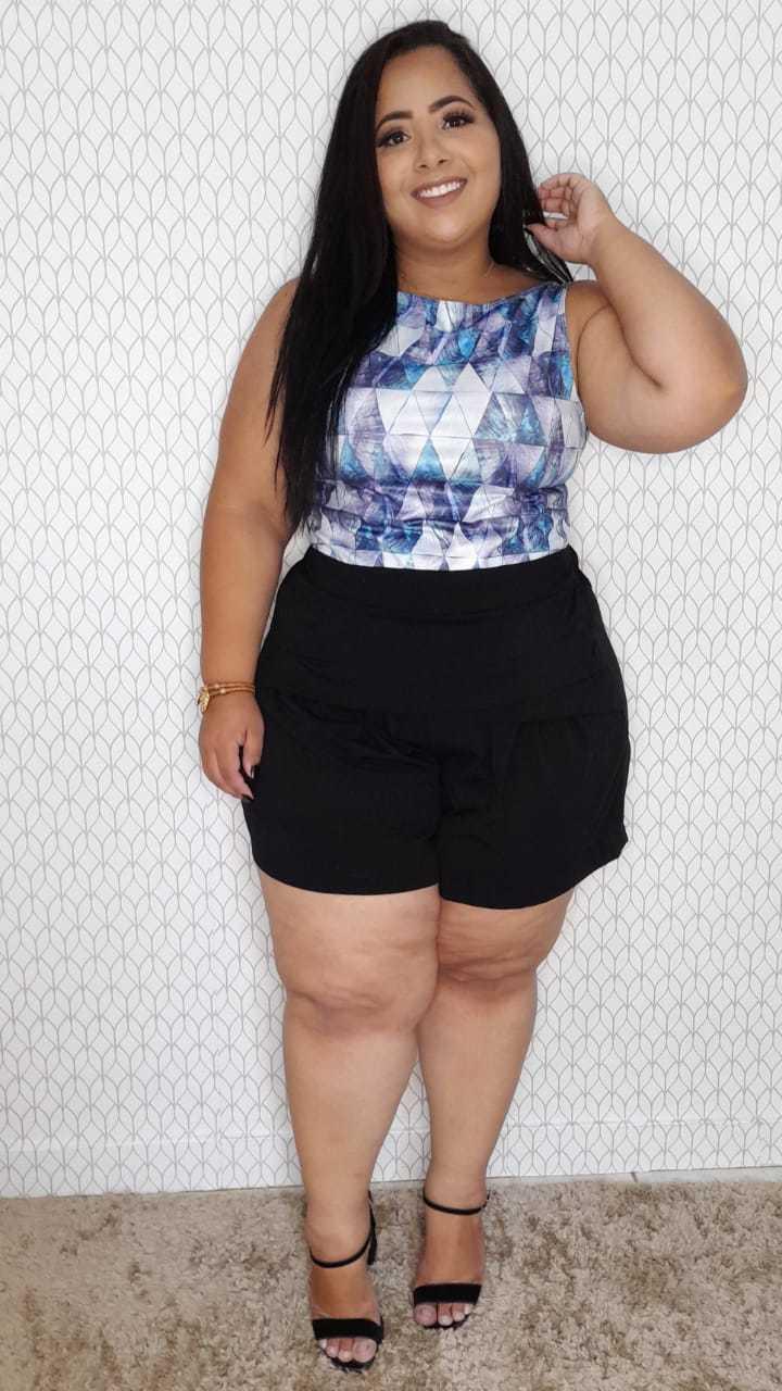 Shorts Feminino Plus Size Pala Drapeada