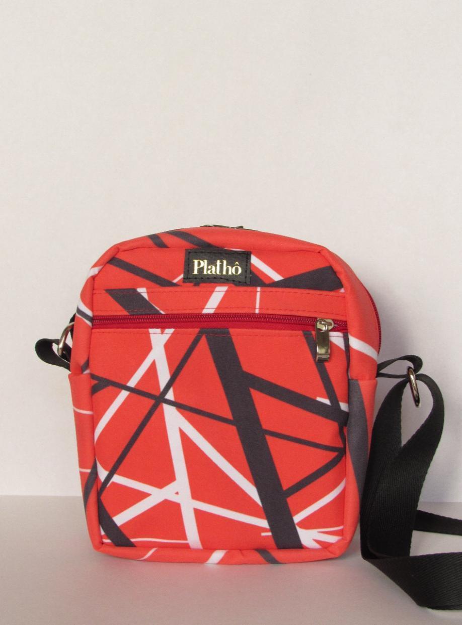 Shoulder bag Ed Van Halen tecido poliester forro impermeável bolsos interno e externo