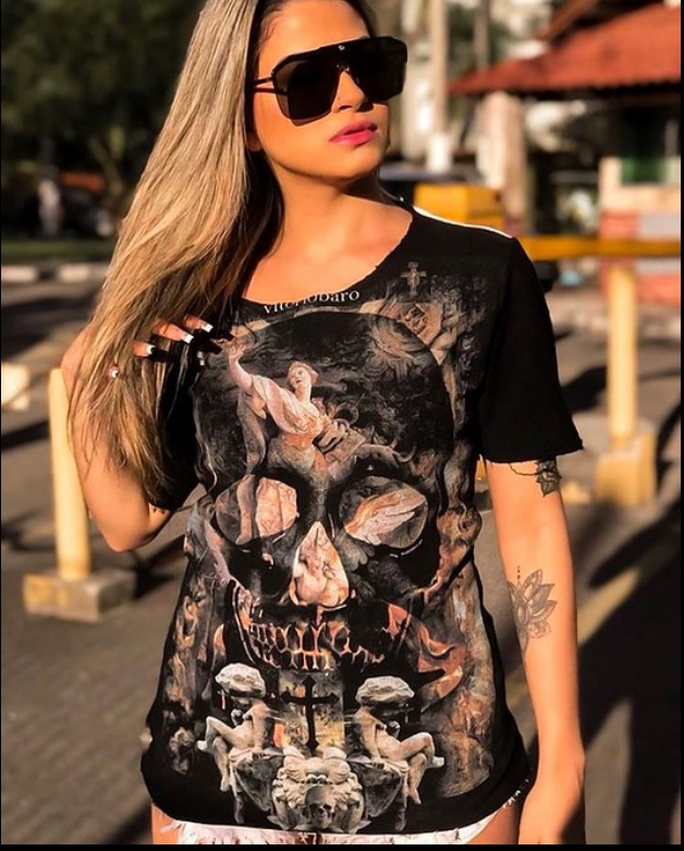 T-shirt Camiseta Feminina Caveira Anjo