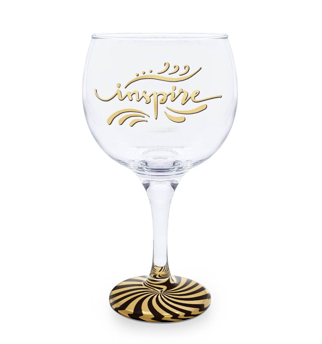 Taça Gin Vidro Inspire Base Preta e Dourada 600ml