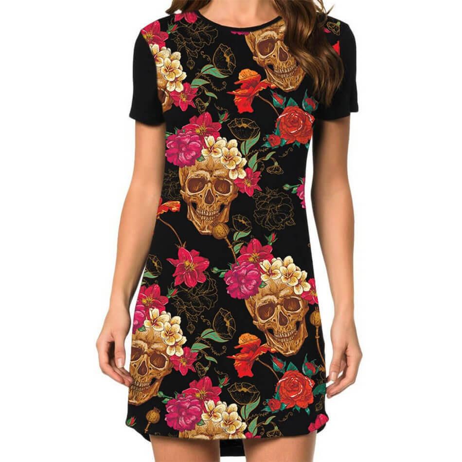 Vestido Caveiras e Flores