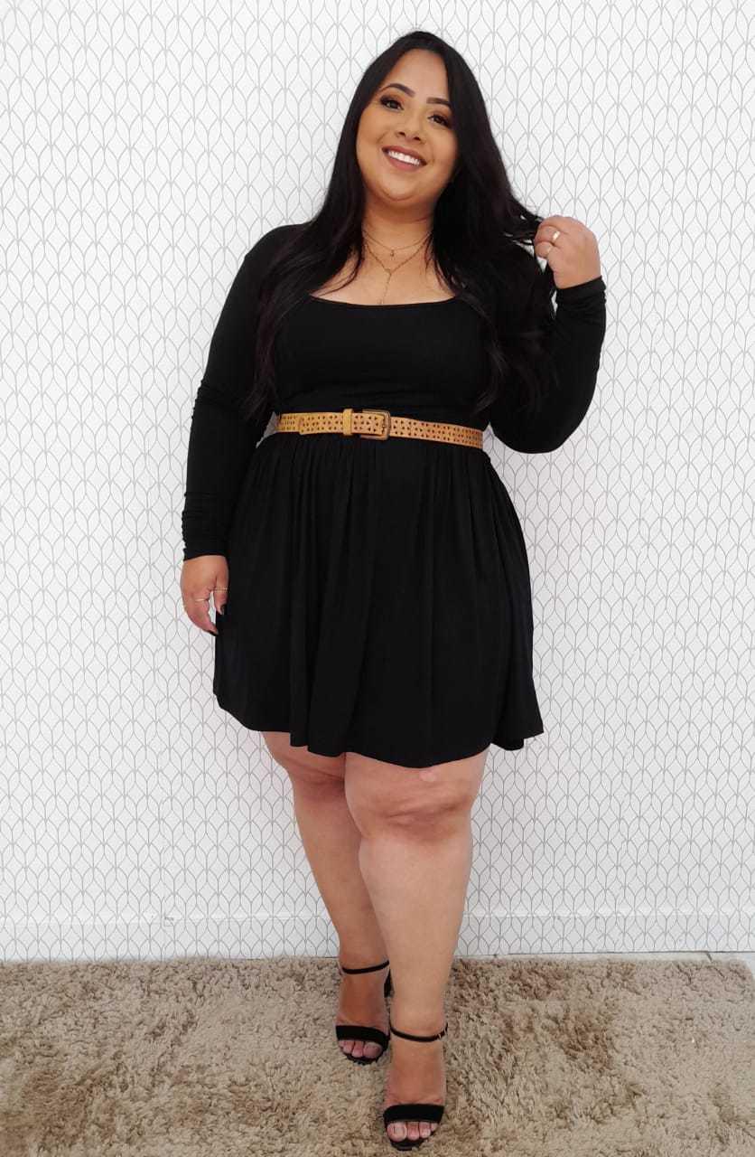 Vestido Decote Quadrado Gaia Liso Rodado Plus Size - 48 A 54