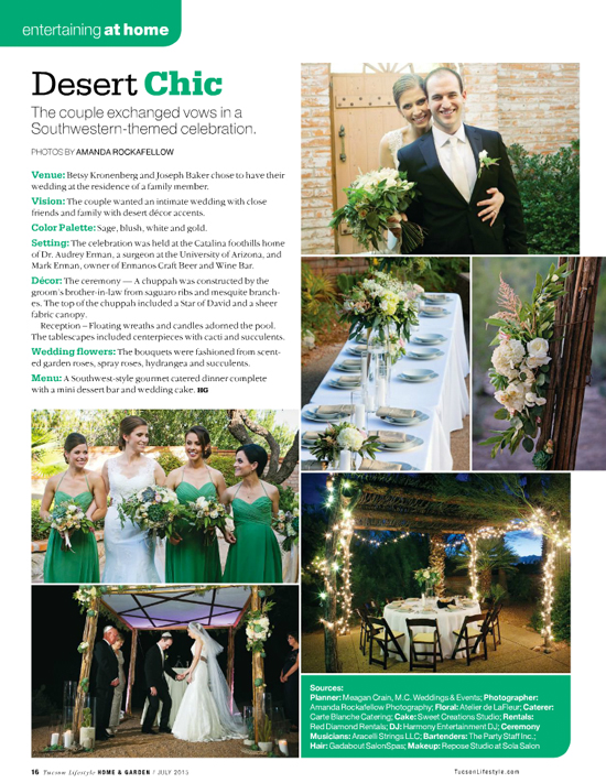Tucson Lifestyle Magazine July 2015, wedding feature.