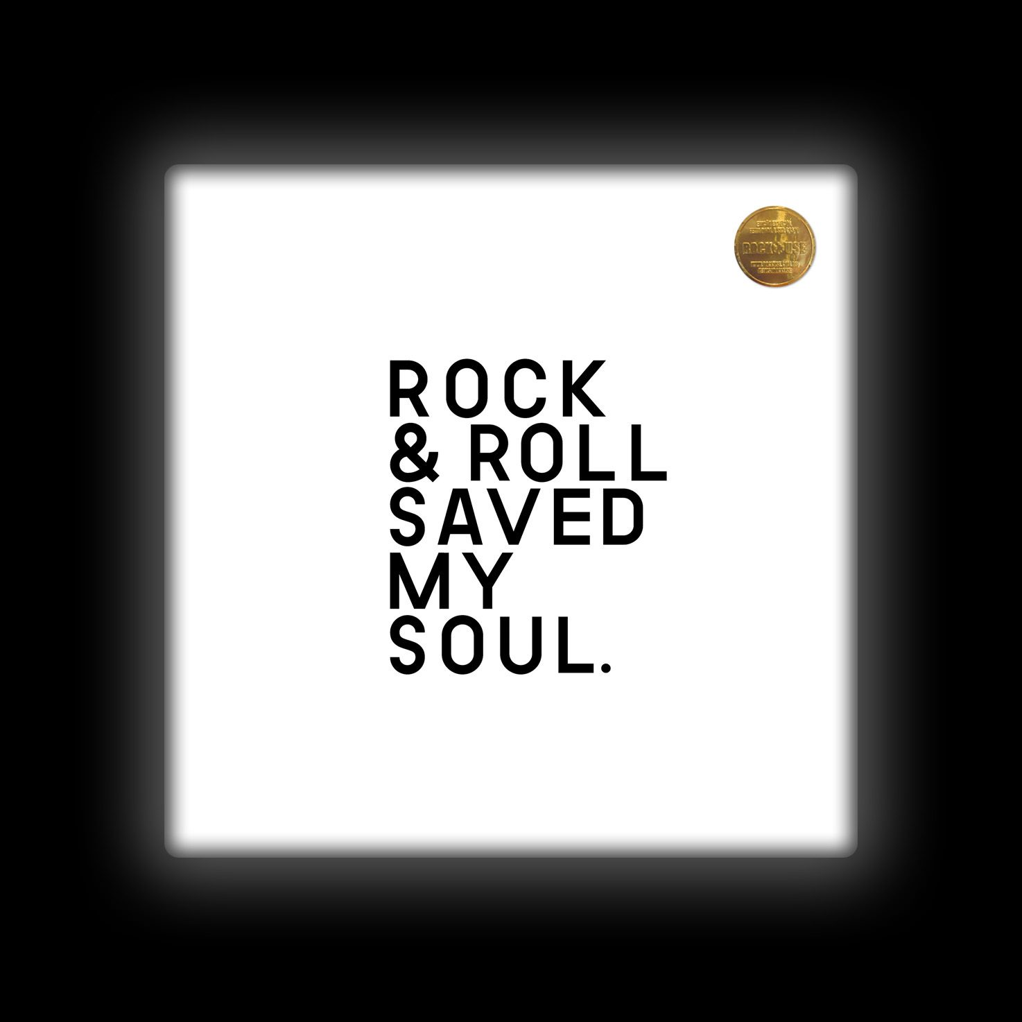 Capa de Almofada Rock Use - Rock & Roll Saved My Soul - Branca