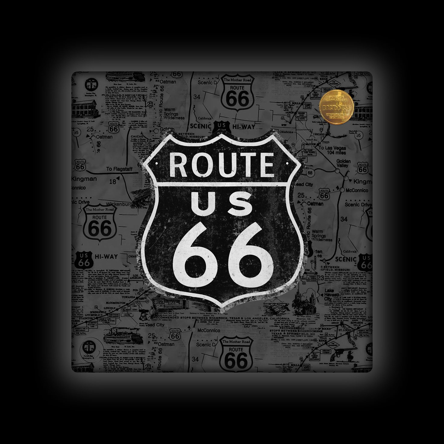 Capa de Almofada Rock Use - Route 66 - Cinza