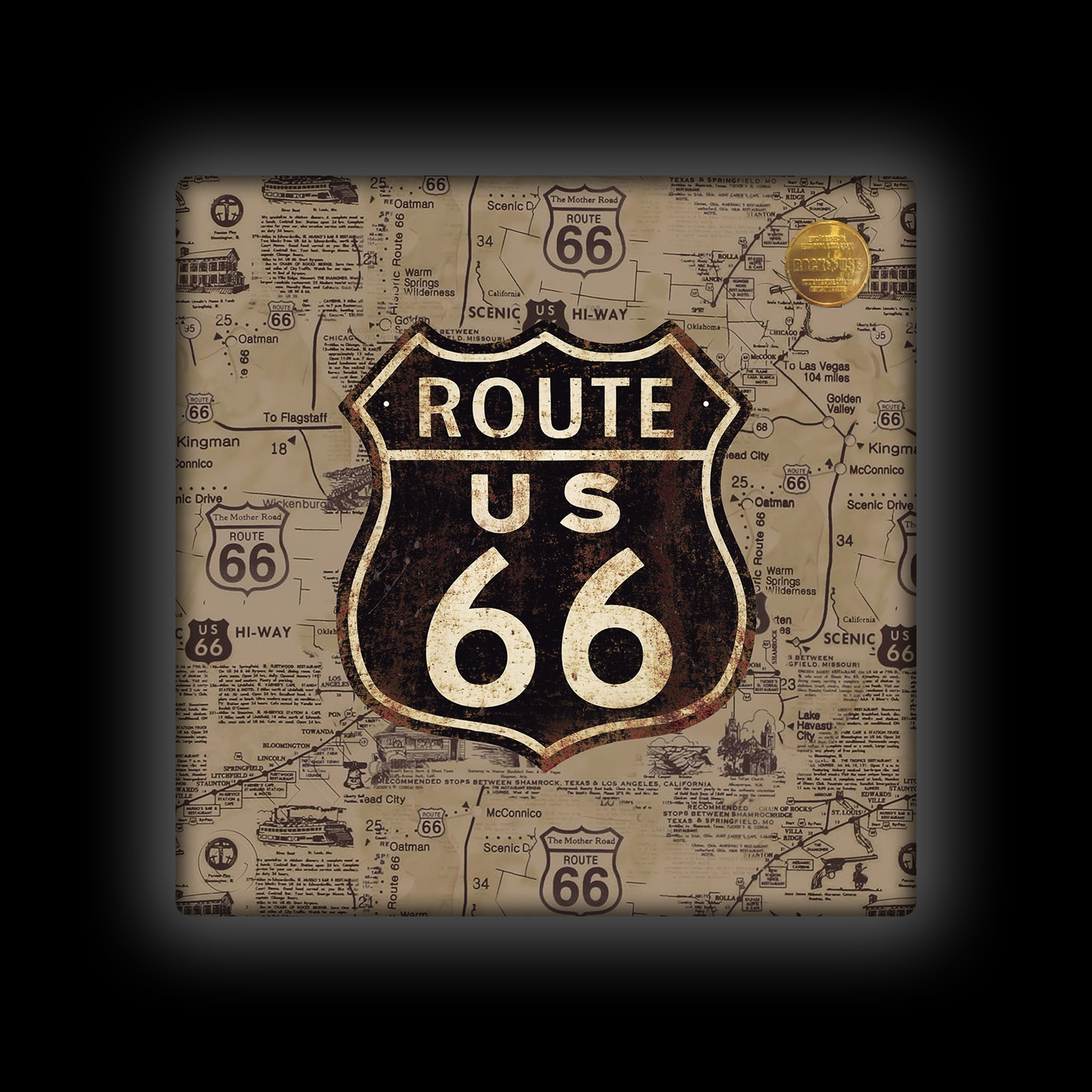 Capa de Almofada Rock Use - Route 66 - Sépia