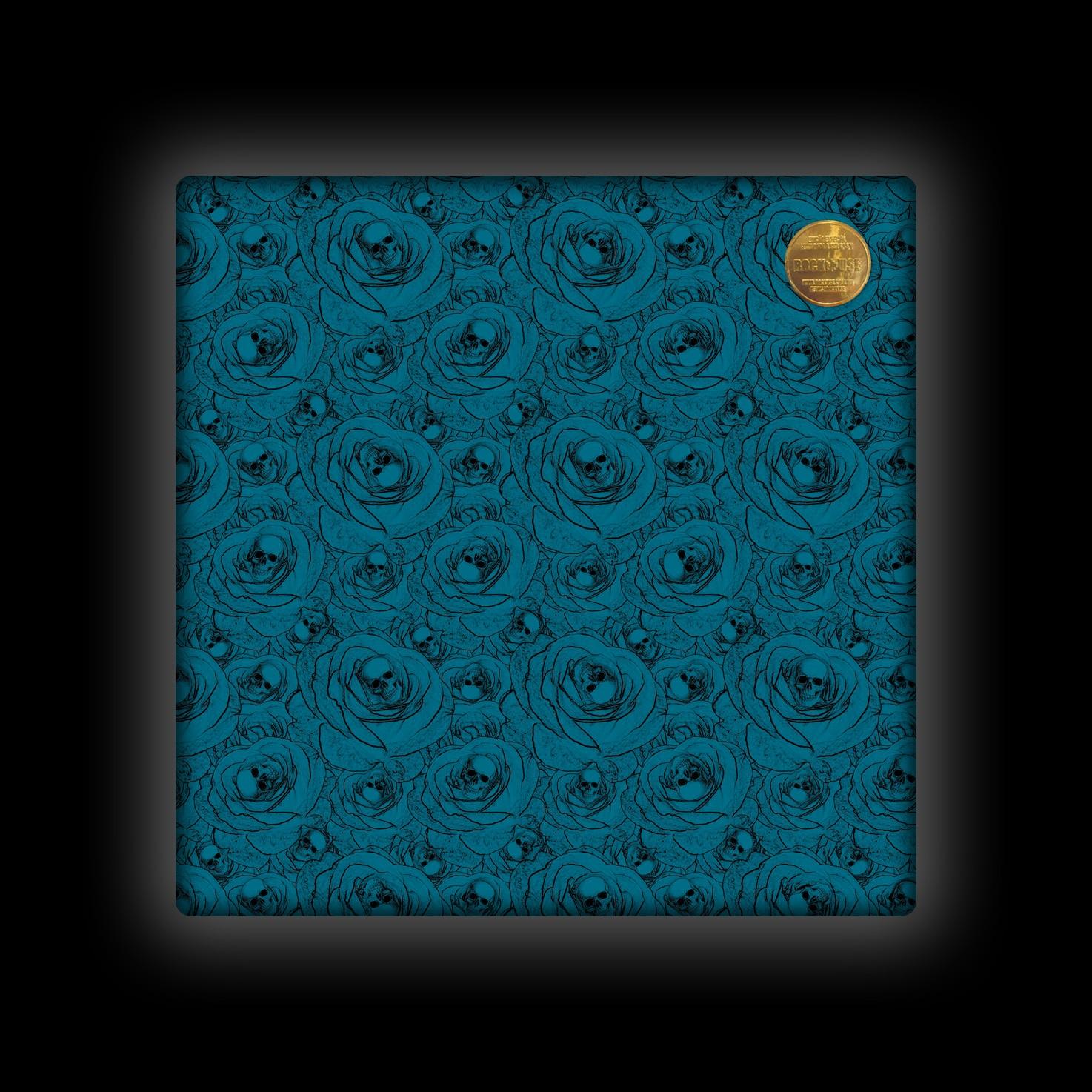 Capa de Almofada Rock Use - Skull & Roses - Azul Petróleo
