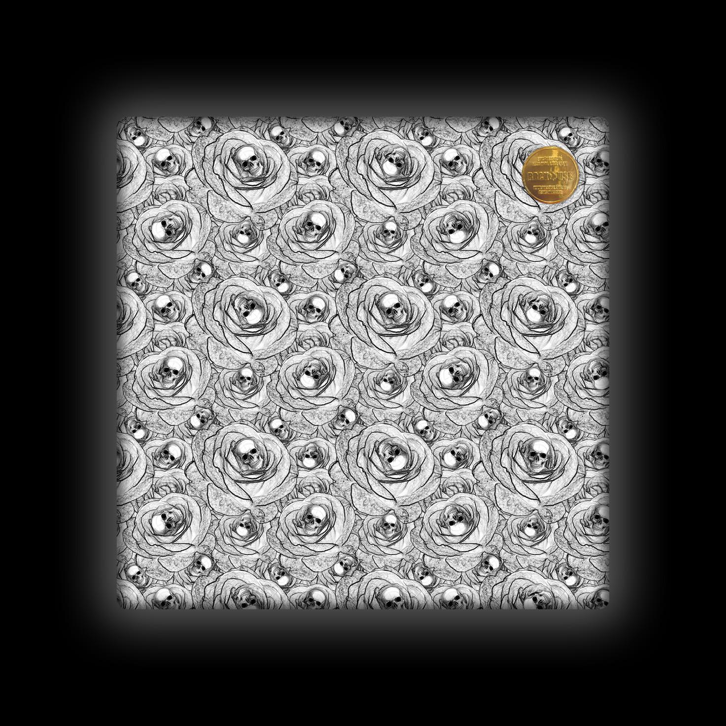 Capa de Almofada Rock Use - Skull & Roses - Branca