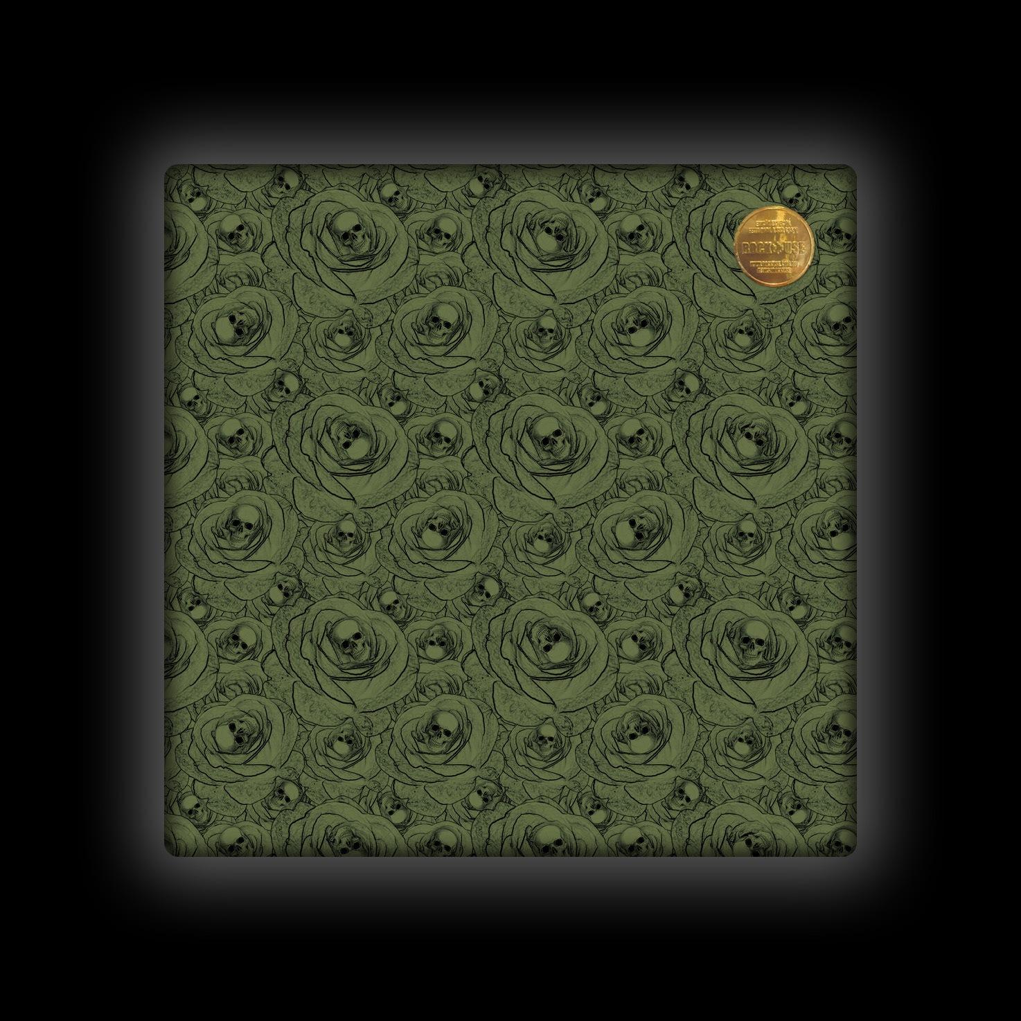 Capa de Almofada Rock Use - Skull & Roses - Verde