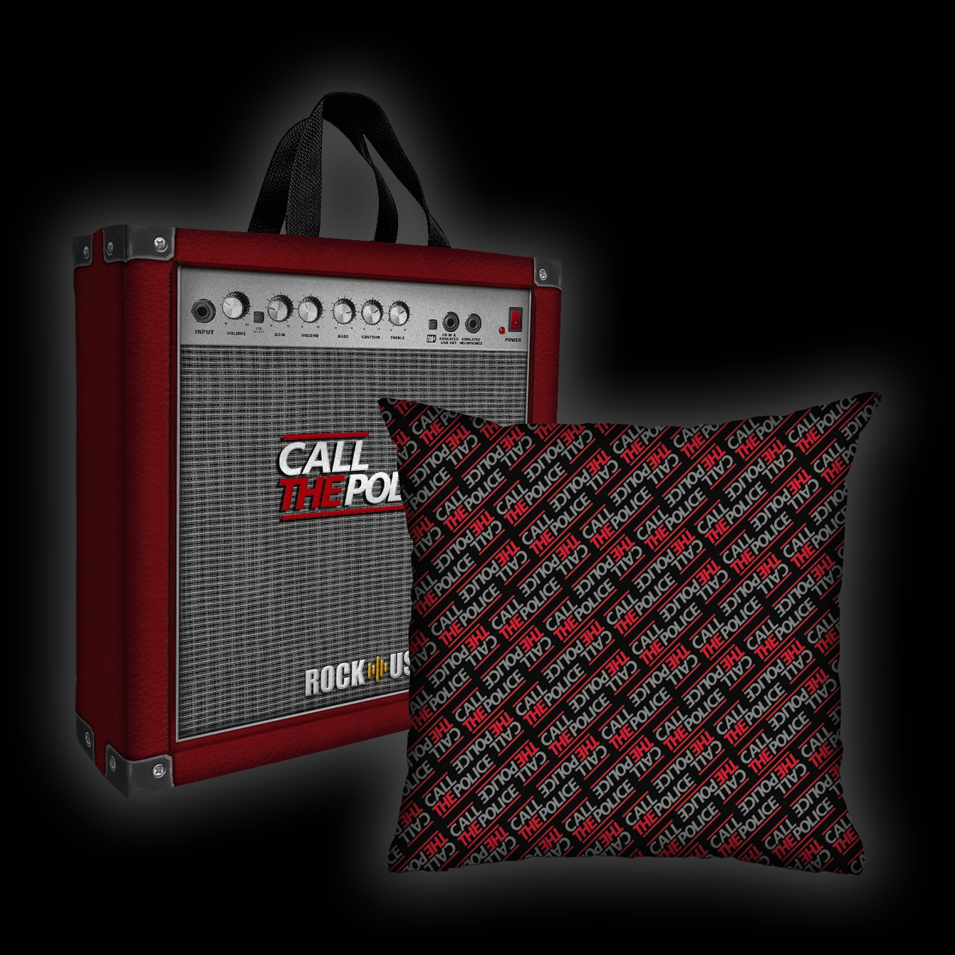 Kit Almofada + Sacola Call the Police - Wall (Black & Red)