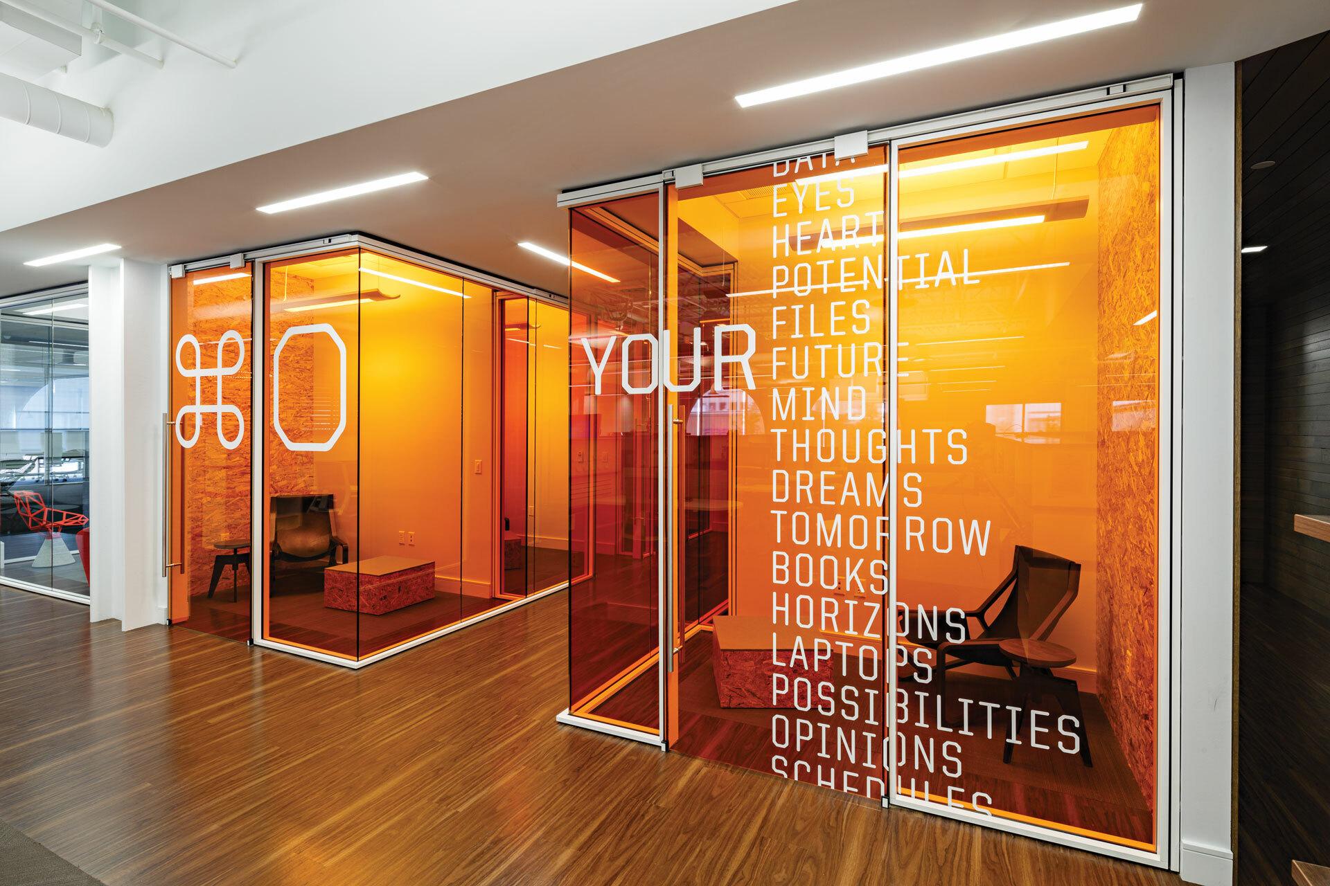 Pluralsight HQ orange Rooms