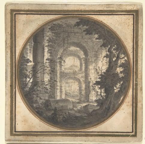 CARLO FANTACCINI «Paysage avec ruines»