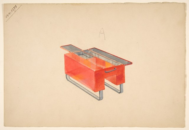 GUGLIELMO ULRICH « Croquis de table basse laquée rouge»