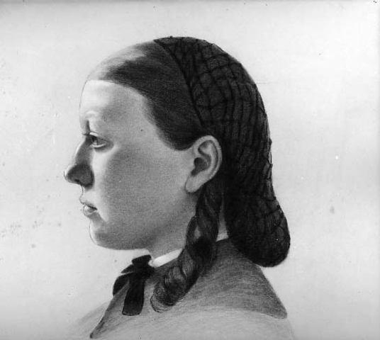 ELIZABETH KING HAWLEY «Tête de jeune fille de profil»