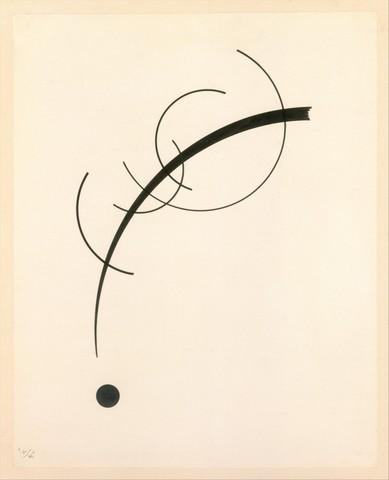 VASILY KANDINSKY «Courbe libre accompagnant le son de courbes géométriques »