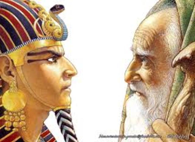 Moisés y Aarón hablan con el faraón