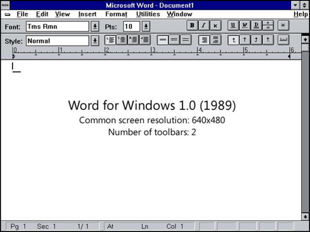el primer word en windows