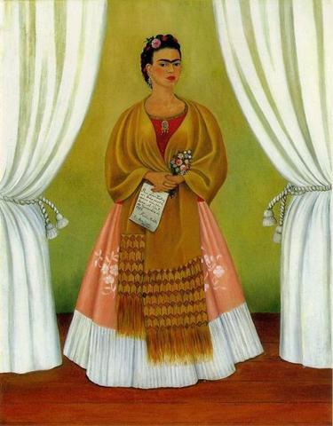 Pinta Autorretrato dedicado a León Trotsky