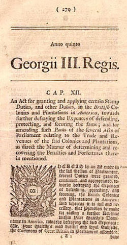 Stamp Act. (Ley del Timbre).