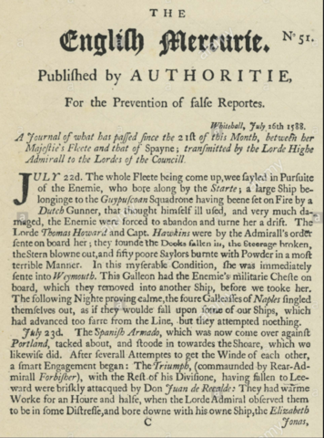 Primer periódico inglés (English mercurie)