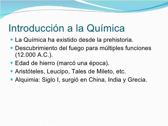 introducción  a la historia de la química :