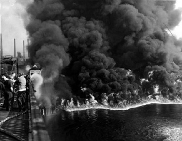 Cuyahoga RIver in Cleveland Ohio catching fire