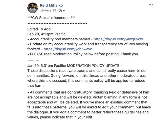 Reid Posts Public Apology on Facebook