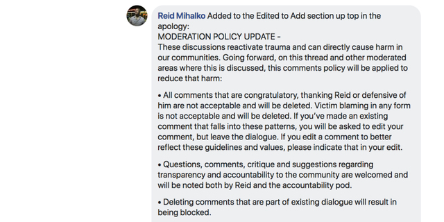 Moderation Policy for Apology Thread Created