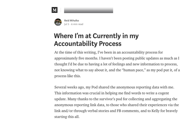 """Reid Publishes 4th Update - """"Where I'm at Currently in my Accountability Process"""" published on Medium.com."""