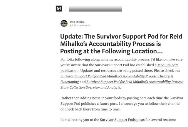 Reid Promotes Survivor Support Pod's Blog in 5th Update