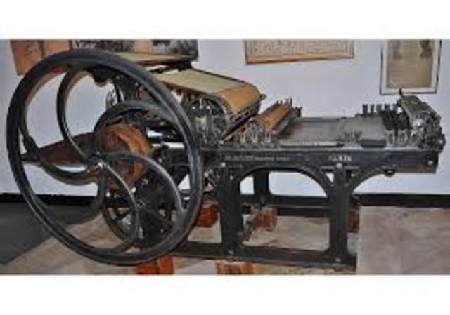 Invención de la máquina impresión tiprográfica cilindrica plana