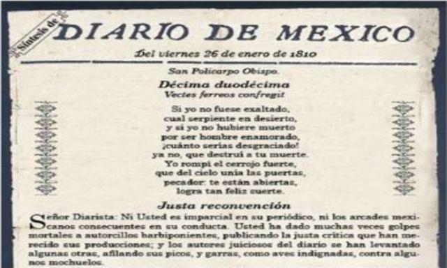 """Se edita el """"Diario de México"""" 1° periódico del país"""