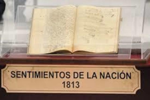 Morelos realiza el congreso de Chilpancingo y lee los sentimientos de la nación